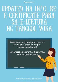 updated na info. re_ e-certificate para sa e-lektura